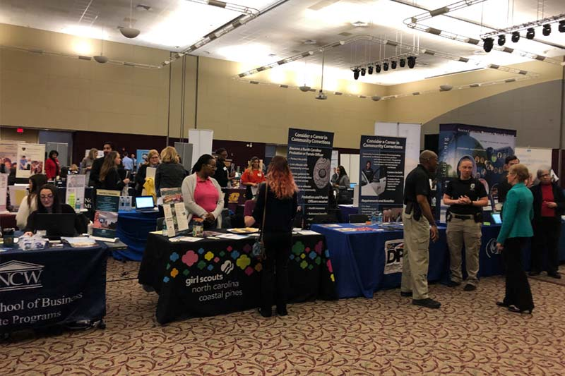 A photo of the spring career fair at the McKimmon Center