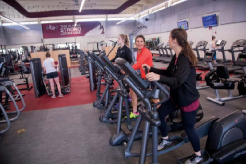 Treadmills looking toward rear entrance