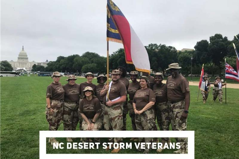 Veterans Holding a flag