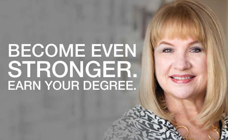 Wings promo image with a woman's photo and the words Become Even Stronger. Earn Your Degree