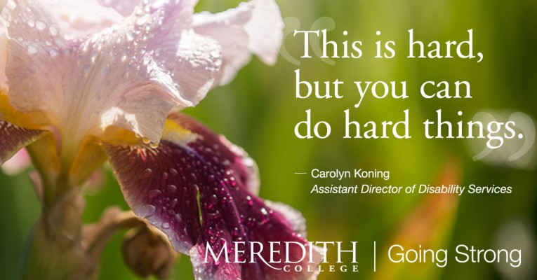 Iris flower / Inspirational quote - This is Hard, but you can do hard things. - Caroyln Koning