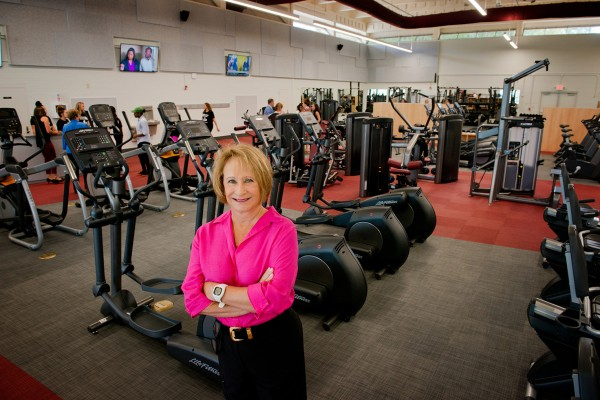 Ann Lowery inside the Lowery Fitness Center