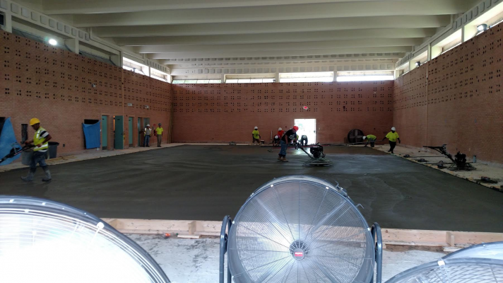 Construction on swimming pool