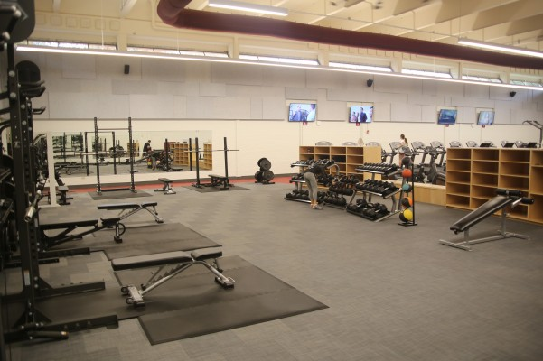 Dumb bells and weights in Lowery Fitness Center