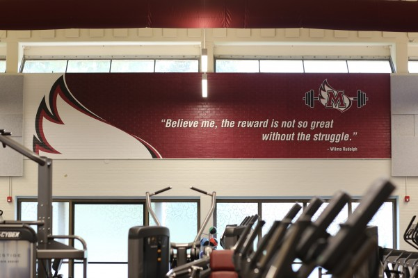 Quote from Wilma Rudolph on the Wall inside Lowery Fitness Center. It says,