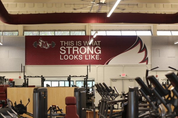 A wall inside Lowery Fitness Center that says