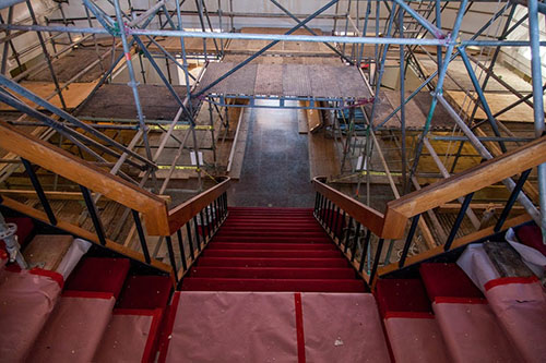 Johnson Hall staircase under construction