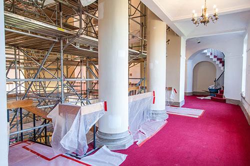 Johnson Hall hallway under construction