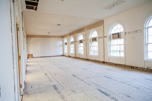 Large empty room in Johnson Hall under construction