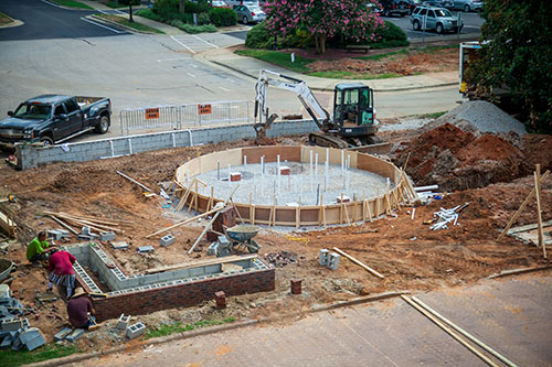 Fountain in front of Johnson Hall being built