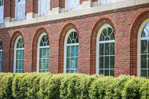 Exterior view of windows in Johnson Hall