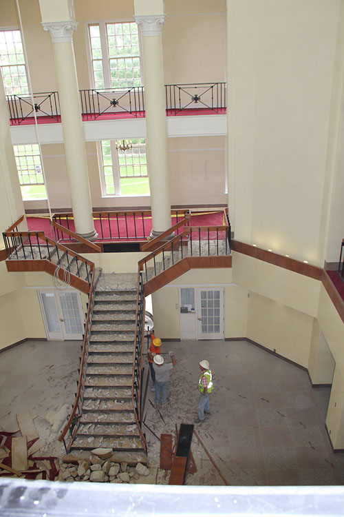 Staircase of Johnson Hall under construction