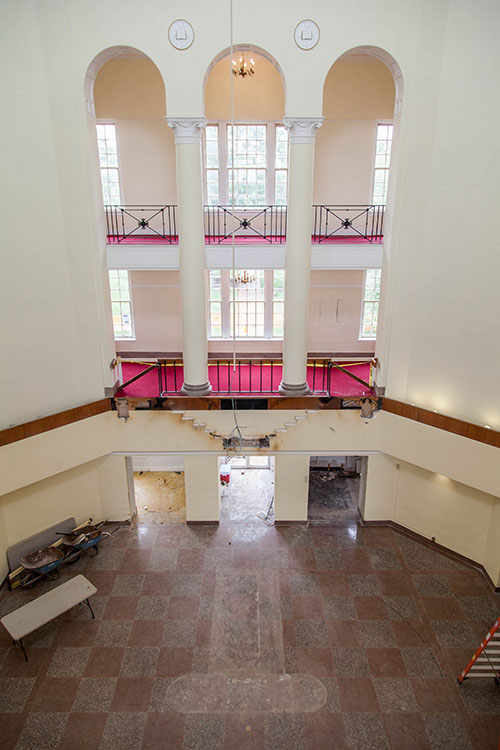 Aerial view of first floor of Johnson Hall under construction