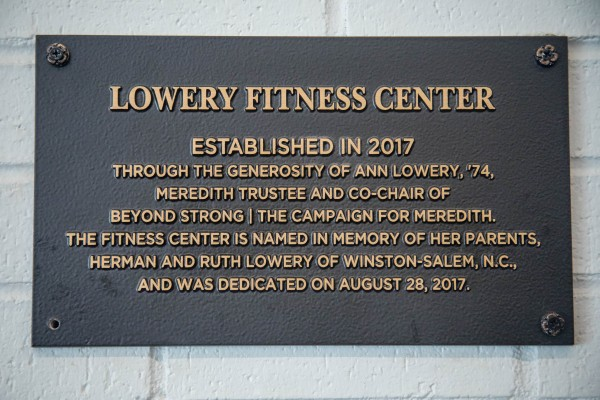A plague that says Lowery Fitness Center established in 2017