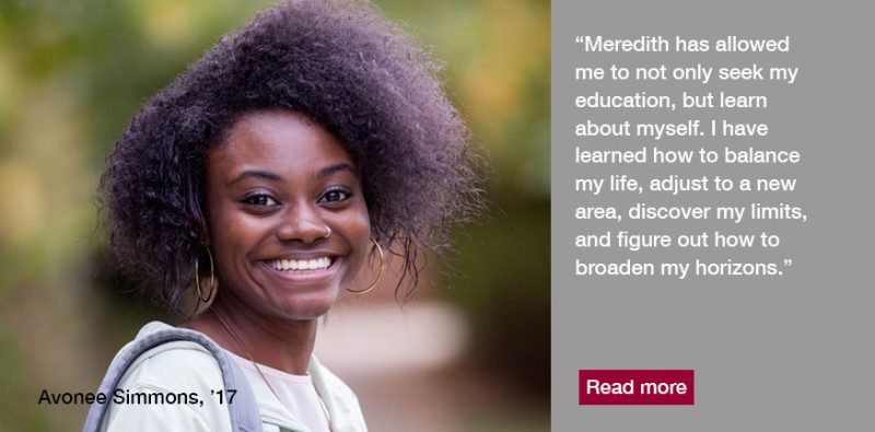 Studying at Meredith College has been an empowering experience for Avoneè Simmons, '17, a fashion merchandising and design major