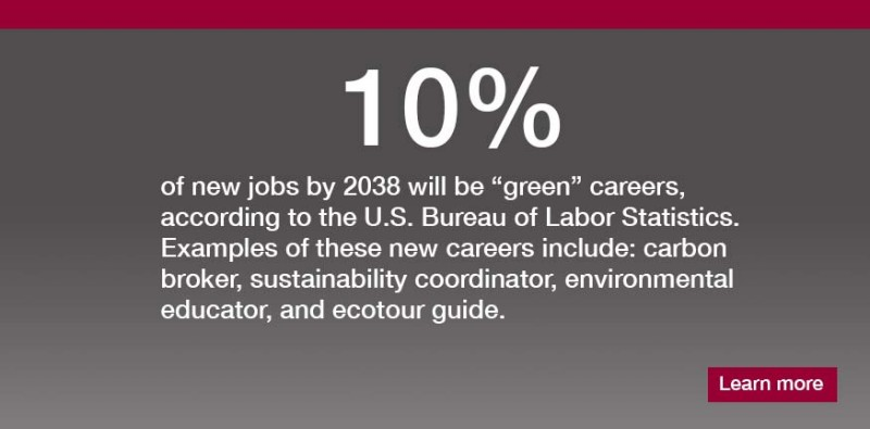 By 2038 10% of new jobs will be green careers