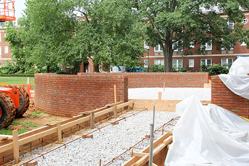 Patio behind Johnson Hall under construction