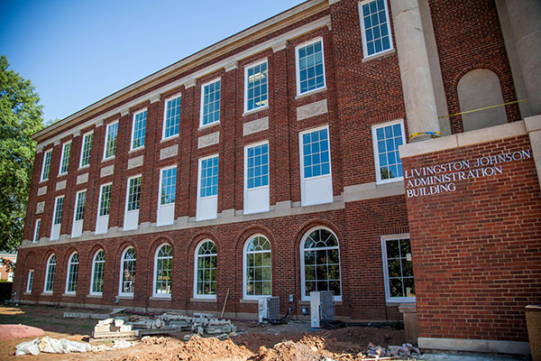 The front of Johnson Hall under construction