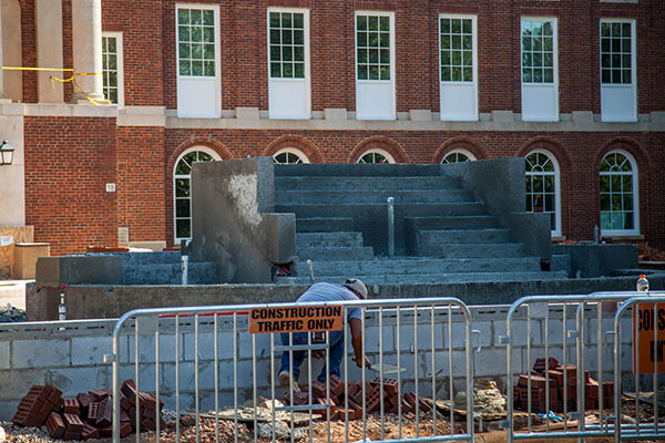 The fountain in front of Johnson Hall under construction