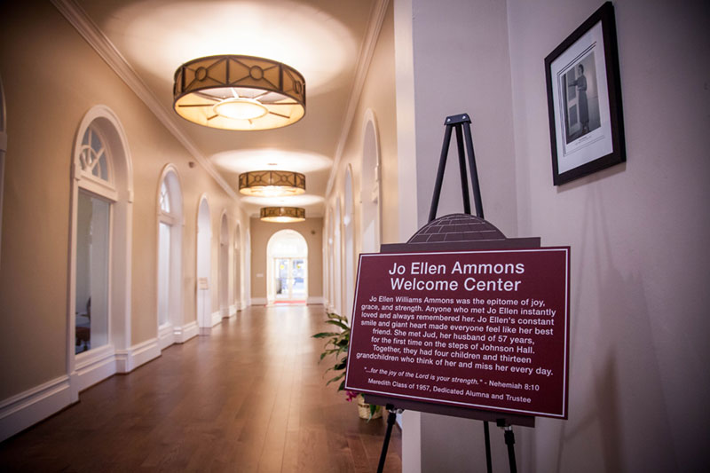 Hallway in Johnson Hall with a Jo Ellen Ammons Welcome Center sign