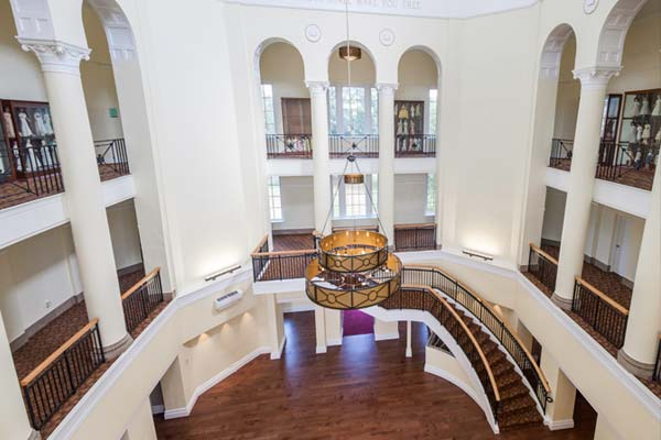 Aerial view of the atrium in Johnson Hall