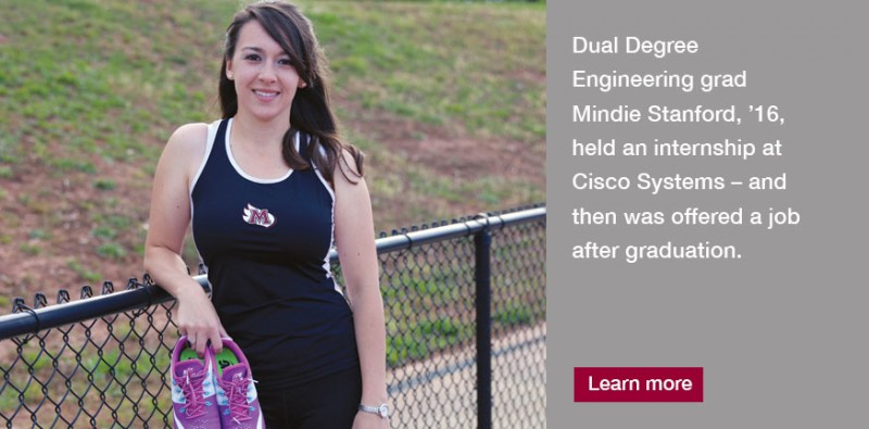 Mindie Stanford, '16, has made the most of her experience at Meredith College, where she participated in the Engineering Dual Degree Program, a collaboration between Meredith and North Carolina State University