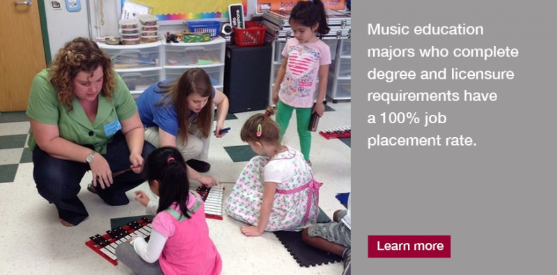 Music Education majors who complete degree requirements experience 100% placement rate