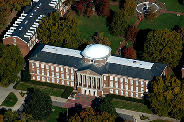 Aerial view of the old Johnson Hall