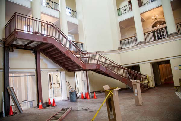 Large staircase on the ground floor of Johnson Hall being built