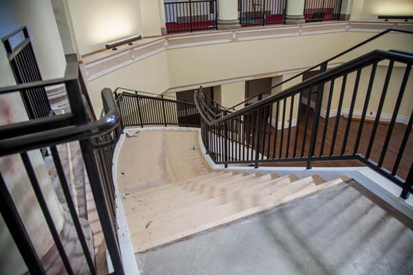 Large staircase in Johnson Hall under construction