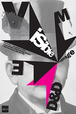 typographic poster that has a black and white photo of a man's head in the background