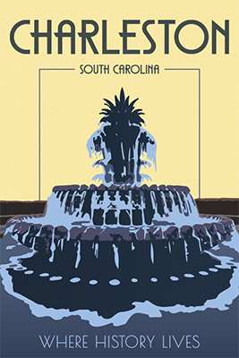 Poster of blue monochromatic water fountain with a yellow background. The words say Charleston South Carolina where history lives