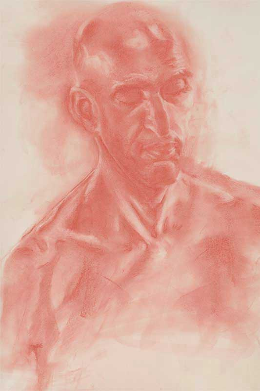 Red tinted drawing of a male face
