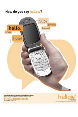 Cell Phone in hand with different versions of hello