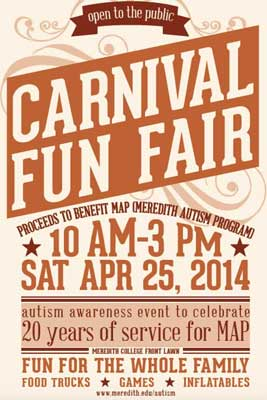 Carnival Style poster that says Carnival Fun Fair with date Saturdat April 24, 2017