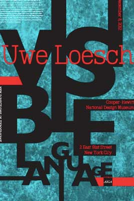 Loesche Poster in red, teal and blue color palette