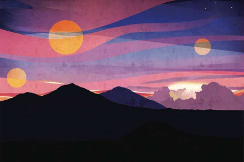 Mountain Landscap at dawn with purples and orange skies