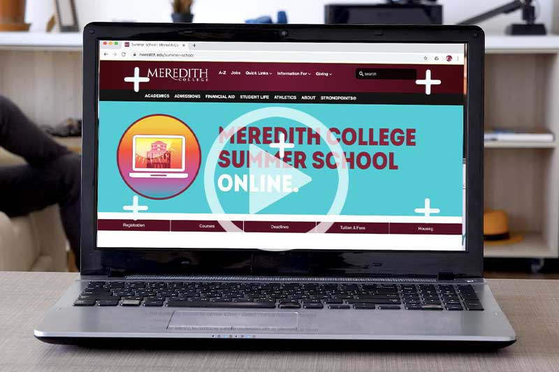 Click image of Computer Screen with text Summer School online to watch video in modal