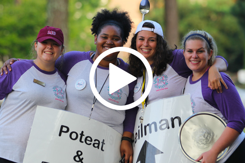 Click image of students greeting freshman on Move-In Day 2016 to watch video in modal