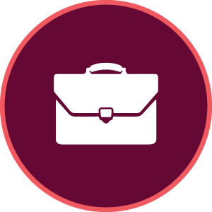 maroon icon with a briefcase image in middle