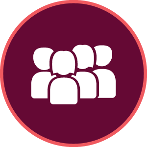 Maroon circular icon with four people silhouettes.