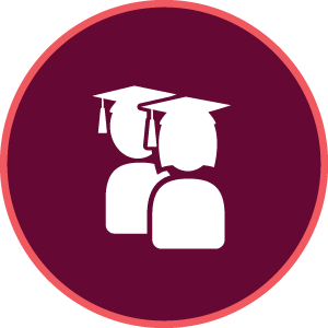 maroon icon with two graduate graphics
