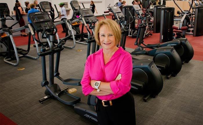 Ann Lowery in the new Lowery Family Fitness Center