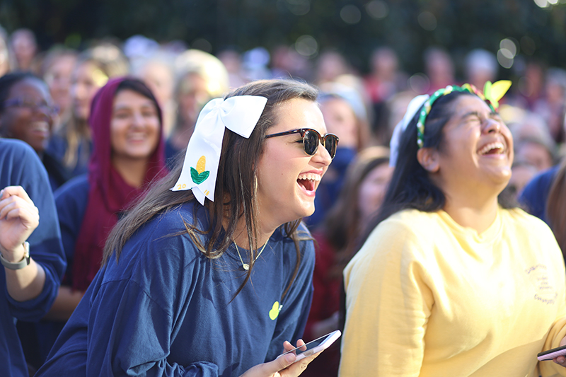 Students Laughing at Cornhuskin Parade