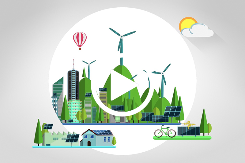 Click on graphic of wind power generators and buildings to watch video in modal