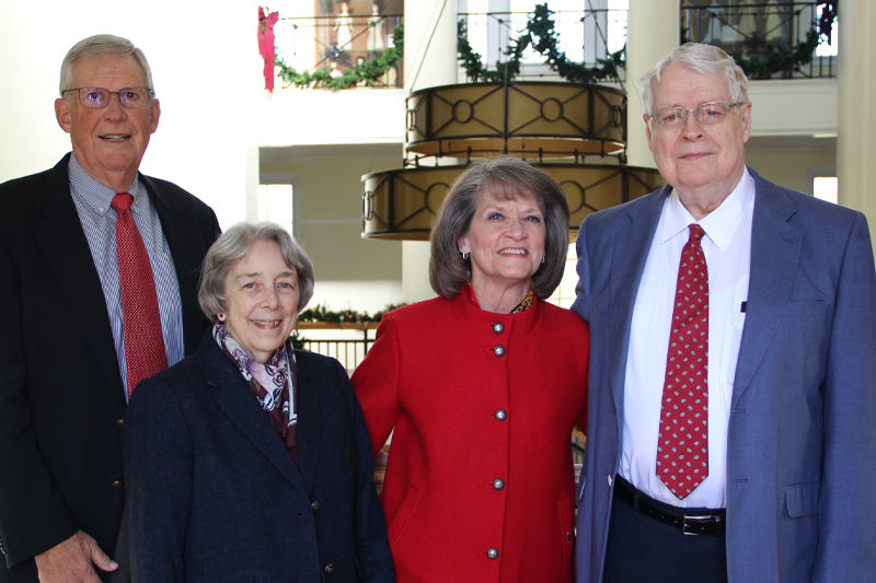 Charles and Gwyn Davis were able to attend the endowment signing with Patricia and Don Johnson in December 2019. Pictured left to right: Don Johnson, Gwen Davis, Pat Johnson, and Charles Davis.