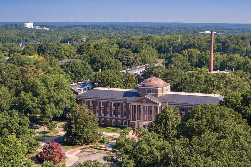 Side View of Johnson Hall from the Sky