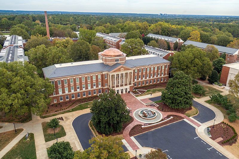Aerial photo of Johnson Hall
