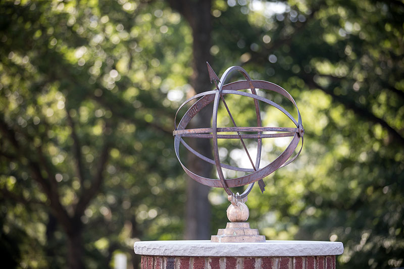Armillary in front of Johnson Hall