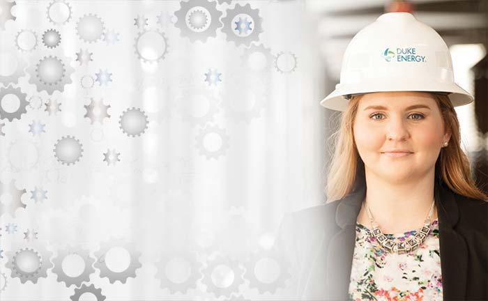 Chelsea Parkinson in her Duke Energy hard hat.